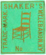 "Label, ""Shaker's Mt. Lebanon, N. Y., Trade-Mark, No,"" South Family, Mount Lebanon, NY, ca. 1875, Shaker Museum 