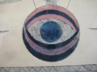 The All-Seeing Eye Detail from Gift Drawing Attributed to Sarah Bates, Mount Lebanon, NY, Philadelphia Museum of Art.