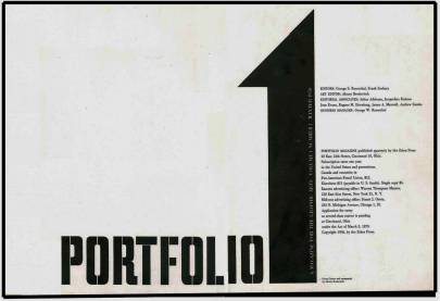 Portfolio, (title page), Volume 1, Number1,Winter, 1950.