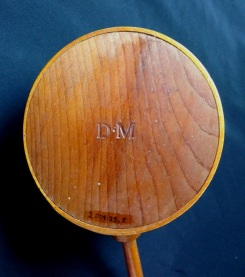 """""""D. M."""" Stamp Appearing on the Bottom of a Dipper, ca. 1830, Shaker Museum   Mount Lebanon, 2009.23.5. Note that all serifs on the """"M"""" are intact on this dipper."""