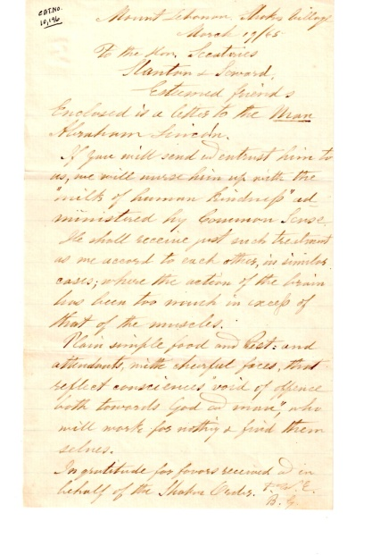Letter. Elder F. W. Evans and Brother Benjamin Gates to Edwin M. Stanton and William H. Steward, March 19, 1865.