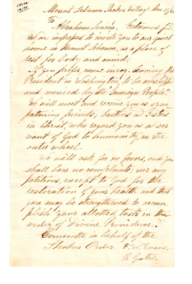 Letter. Elder Frederick W. Evans and Brother Benjamin Gates to President Abraham Lincoln, March 19, 1865.