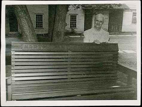 Sister Sadie Maynard Standing behind a Bench, North Family, Mount Lebanon, NY