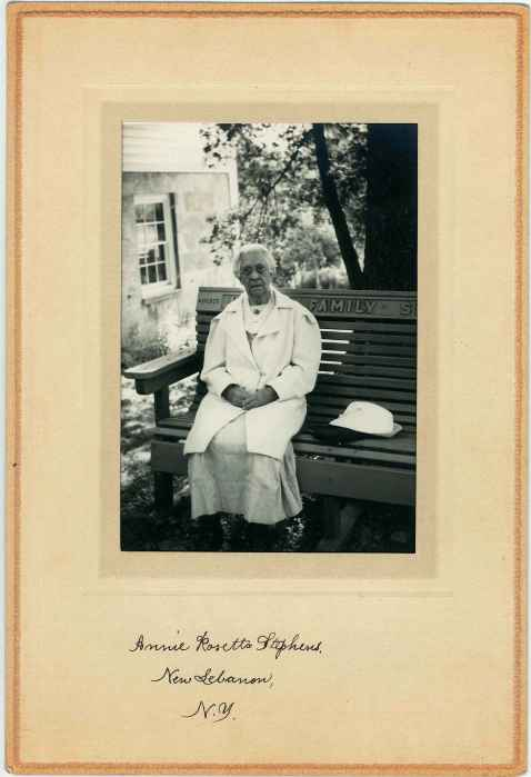 Photograph, Sister Sadie Maynard Standing behind a Bench, North Family, Mount Lebanon, NY