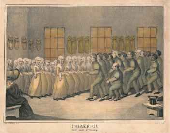 "Hand-Colored Lithograph, ""Shakers, their mode of Worship,"""