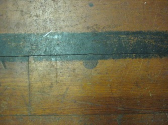 Meetinghouse Floor with Large Peg in the Center of the Sanctuary, Church Family, Mount Lebanon, NY, ca. 2011. Museum staff photograph.