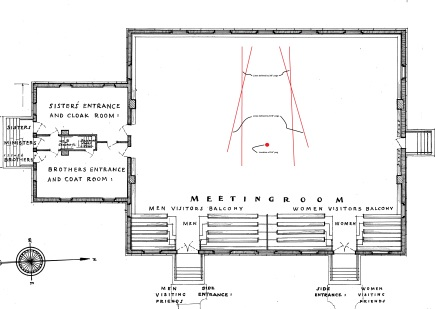 """Meeting House of the Lebanon Shakers,"" Historic American Buildings Survey, 1939-1941, A. K. Mosley, delineator. The drawing shows lines defined by four sets of pegs in the sanctuary floor."