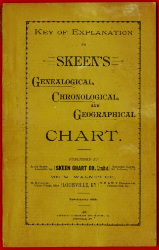 Key of Explanation to Skeen's Genealogical, Chronological and Geographical Chart, (cover) by Jacob Skeen, copyright 1886, The Skeen Chart Co., Louisville, KY, Lithographed by the Lithograph and Printing Company, Louisville, KY, Shaker Museum | Mount Lebanon: 1957.9516.1