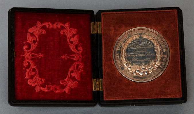SilverAward Medal (back inguttaperchacase), New York State Agricultural Society to the Shaker Sisters