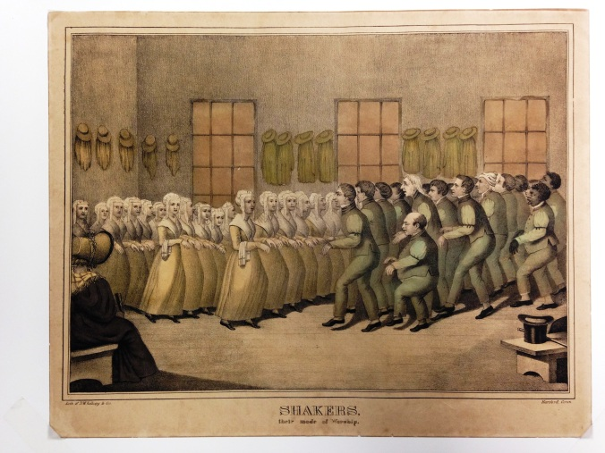 """Hand-Colored Lithograph, """"Shakers.Their Mode of Worship"""""""
