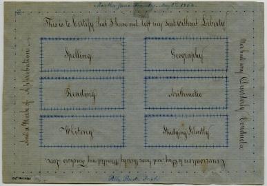 EldressPolly Jane (Ann) Reed, Reward of Merit for Martha JaneFlandro, Church Family, Mount Lebanon, NY, 1854, Shaker Museum | Mount Lebanon: 1951.4461.1.