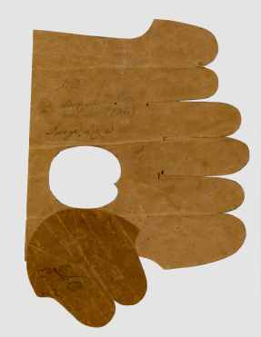 Paper Pattern,Glove,Church Family, Mount Lebanon, NY,1867,Shaker Museum | Mount Lebanon: 1956.8503.42a,b. Staff photograph.