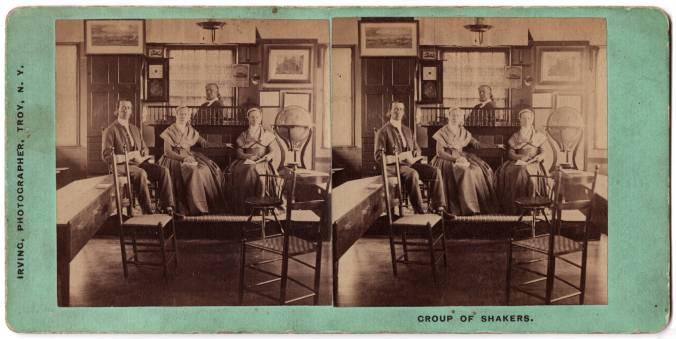 "James Irving, photographer, ""Group of Shakers, [Interior of Mount Lebanon School], ca. 1871"