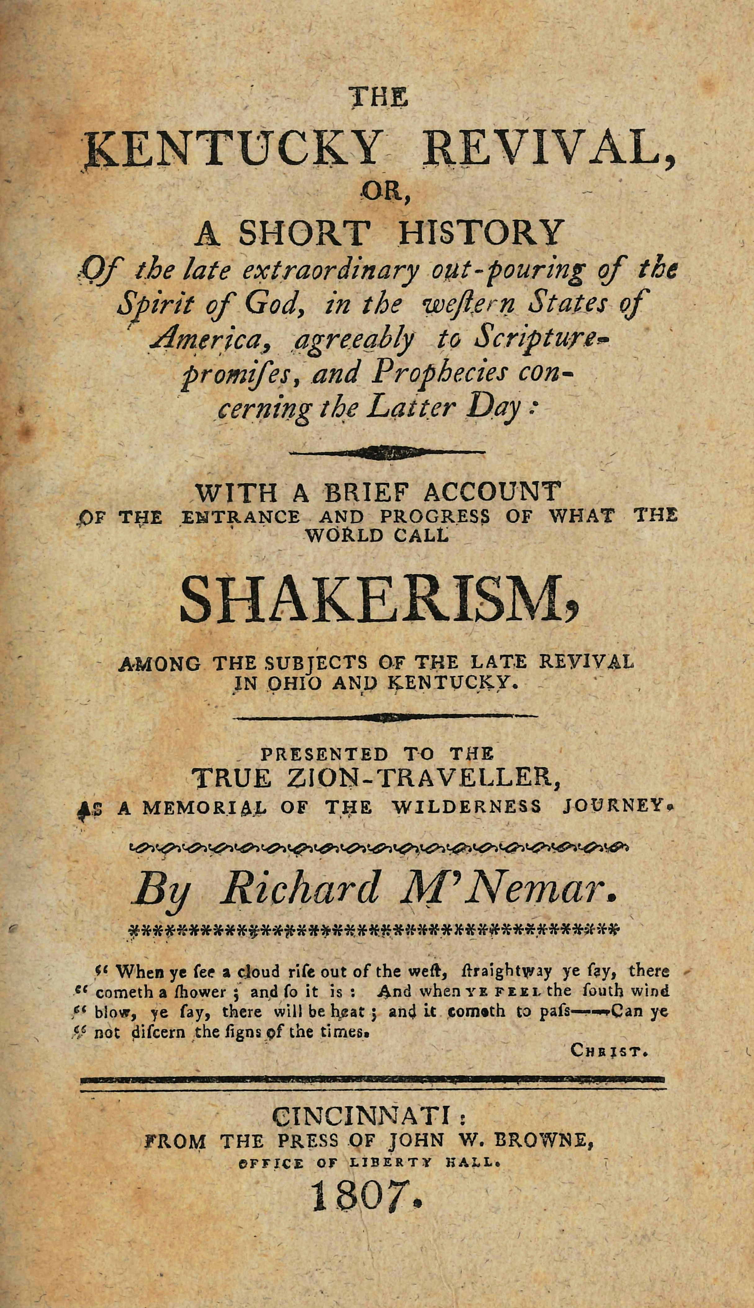 The Kentucky Revivalor, A Short History of the Late Extraordinary Out-Pouring of the Spirit of God, in the Western States of America