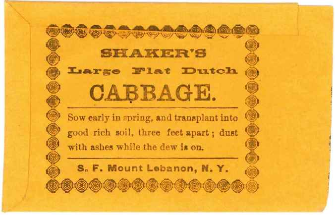 Shaker's Large Flat Dutch Cabbage Seed Bag, Second Family, Mount Lebanon, NY, ca. 1860s