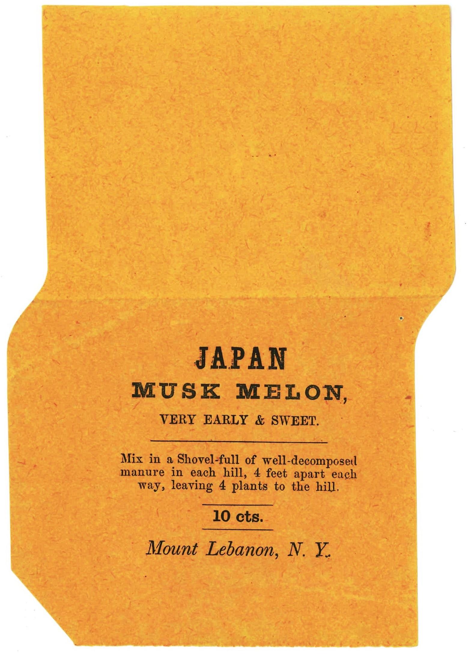 Japan Musk Melon Seed Bag, Mount Lebanon, NY, Ca. 1860s
