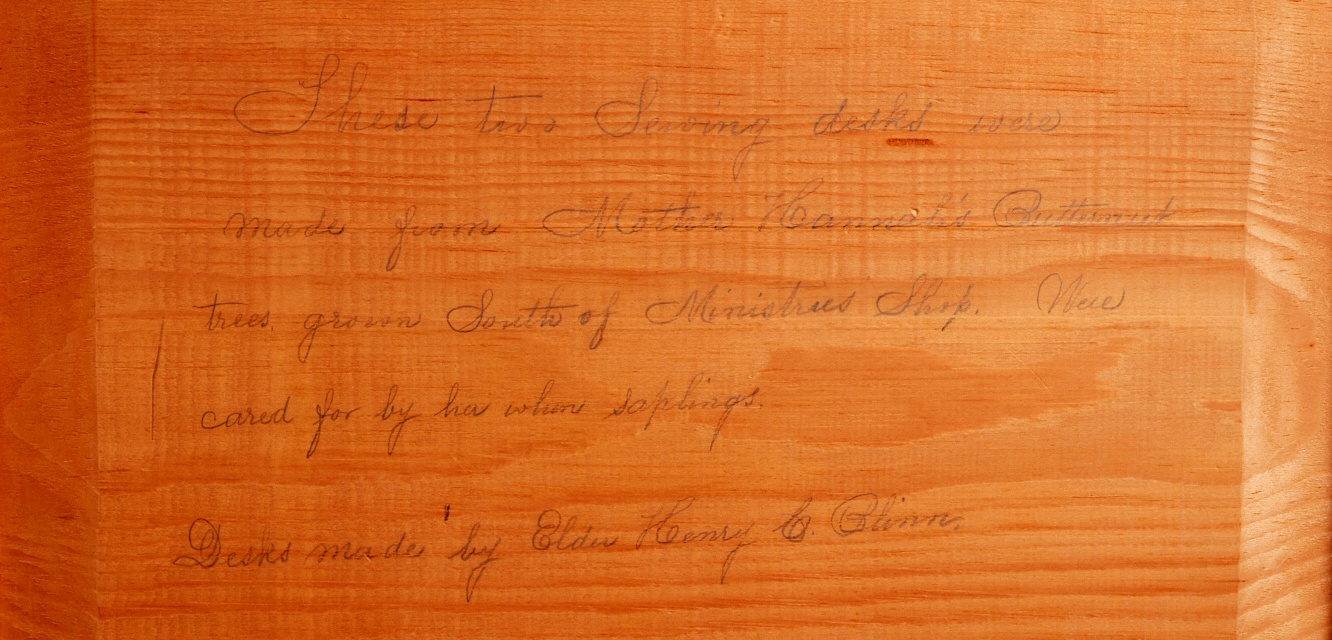 Sewing Desk (detail of inscription), Church Family, Canterbury, NH,ca. 1870-1895