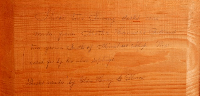 Sewing Desk (detail of inscription), Church Family, Canterbury, NH, ca. 1870-1895