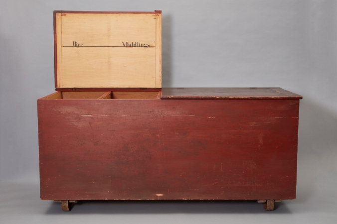 Interior of Flour Chest Showing Labels for Bins, North Family, Mount Lebanon, NY, 1850-1880