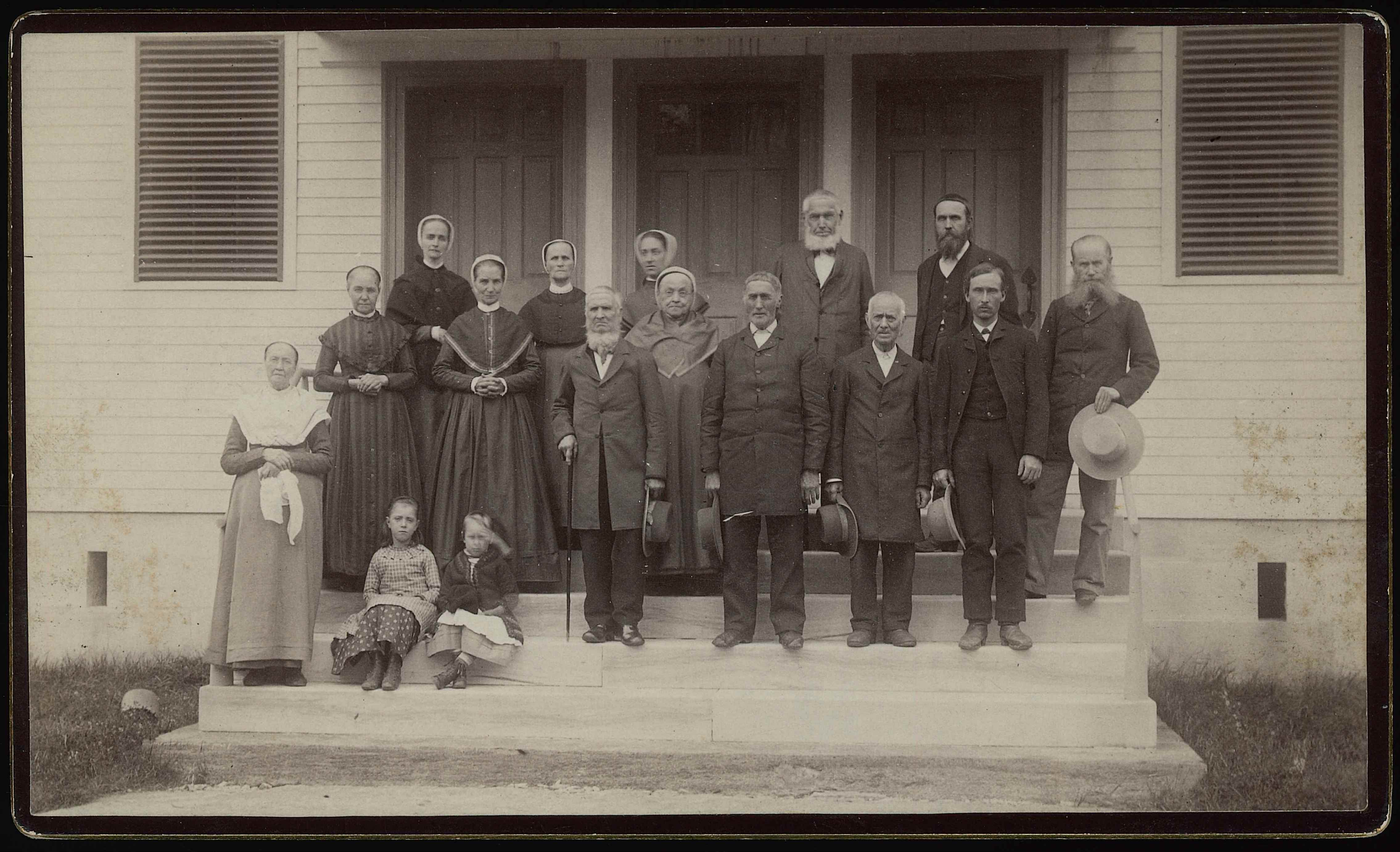 Group of Shakers on Meetinghouse Steps, Church Family, Mount Lebanon, NY, 1888